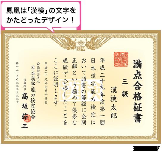 満点合格証書 | 日本漢字能力検...